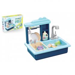 Dřez na mytí nádobí modrý + kohoutek na vodu na baterie plast s doplňky