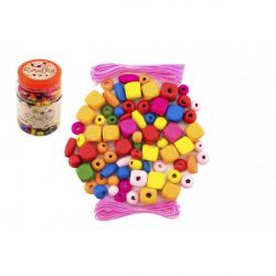 Korálky drevené farebné s gumičkami cca 300ks v plastovej dóze 7x11cm