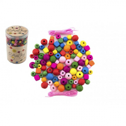 Korálky drevené farebné s gumičkami cca 800 ks vo veľkej plastovej dóze 10x15cm