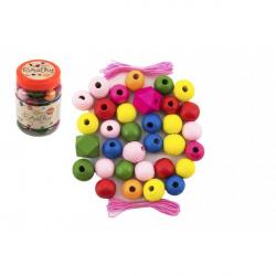 Korálky drevené farebné MAXI s gumičkami 54ks v malej plastovej dóze 7x11cm