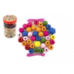 Korálky drevené farebné MAXI s gumičkami 106 ks v plastovej dóze 9x13cm