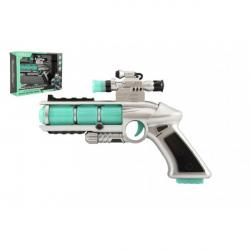 Pištoľ sa zameriavačom plast 20cm na batérie so zvukom a so svetlom