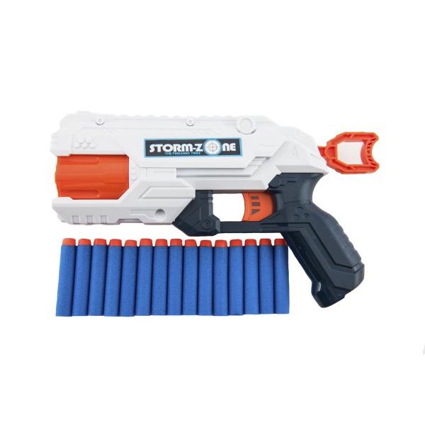 Pistole na pěnové náboje 28cm plast + 16 ks nábojů 2 barvy v krabici 33x26x7cm