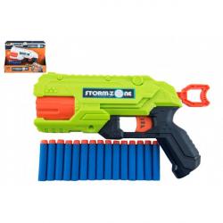 Pištoľ na penové náboje 28cm plast + 16 ks nábojov 2 farby v krabici 33x26x7cm