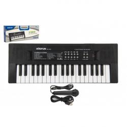 Piánko / Organ / Klávesy 37 kláves plast napájanie na USB + mikrofón 40cm v krabici 41x15x4cm