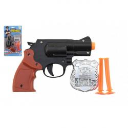 Pištoľ policajné 15cm plast s odznakom + prísavky 2ks na karte