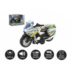 Motorka policajné 12cm kov / plast na spätné nat. na batérie so svetlom so zvukom CZ v krabičke 15x11