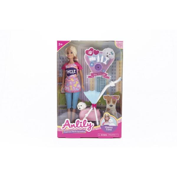 Bábika Anlily kĺbová 30cm plast s miláčikom v kočíku s doplnkami v krabici 22x32x6,5cm