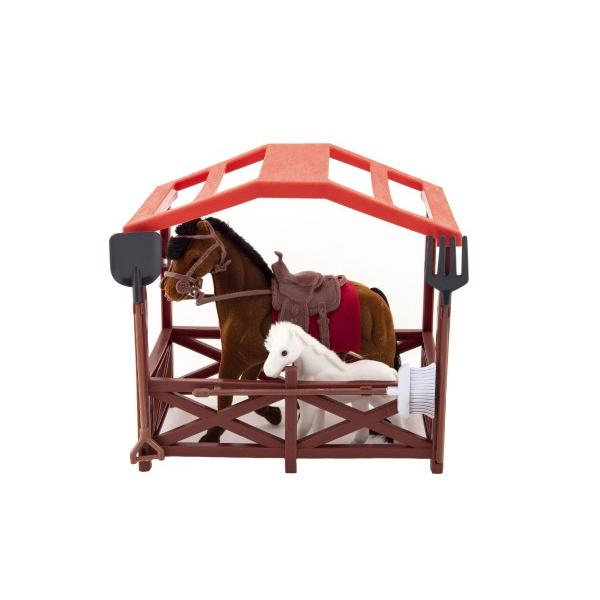 Kôň sa sedlom s žriebätkom flíska plast s ohradou s doplnkami v krabici 23x20x15cm