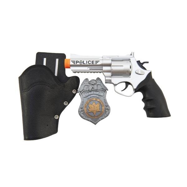 Policejní pistole klapací 20 cm v pouzdru  s odznakem plast na kartě