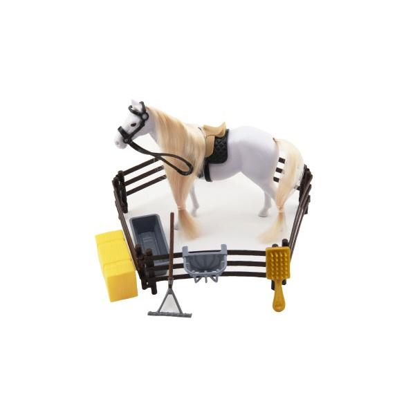 Kôň česacie s doplnkami a ohradou plast 2 farby v krabici 28x22x5,5cm