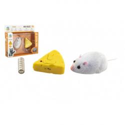 Myš na ovládanie IC plast 7cm na batérie v krabičke 18x16x4cm