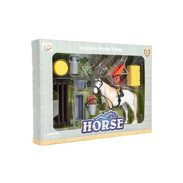 Kůň česací bílý plast s doplňky a ohradou v krabici 34x25x5cm