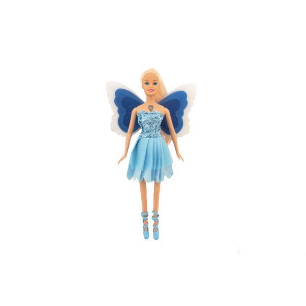 Bábika víla s krídlami plast 29cm modrá na batérie so svetlom v blistri 24x34x6cm
