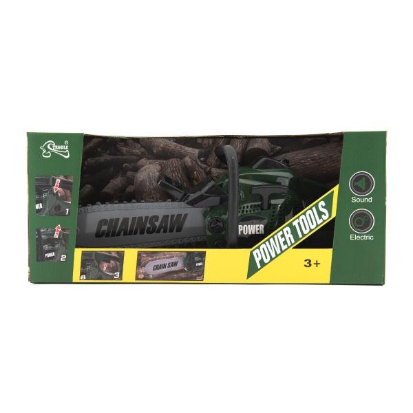 Motorová pila řetězová nářadí plast 40cm na baterie se zvukem v krabici 41x18x12cm