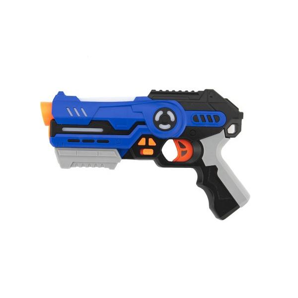Pistole 2ks se zaměřovačem plast 25cm na baterie se zvukem a se světlem v krabici 46x33x6cm