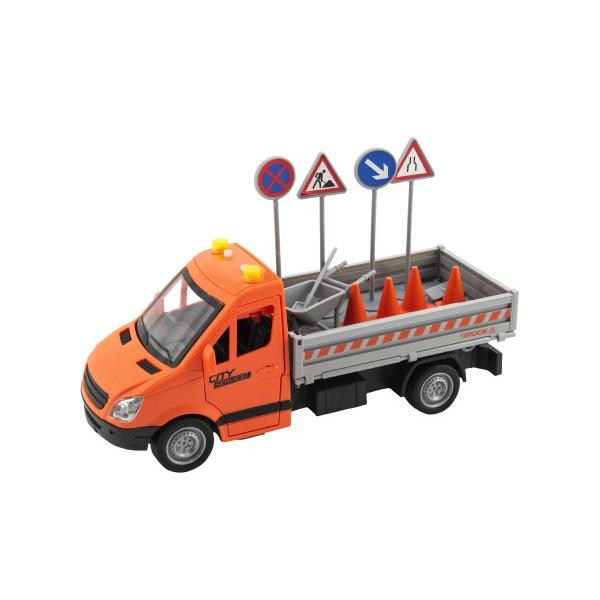 Auto silniční údržba plast 25cm na setrvačník na baterie se zvukem se světlem v krabici 32x19x12cm