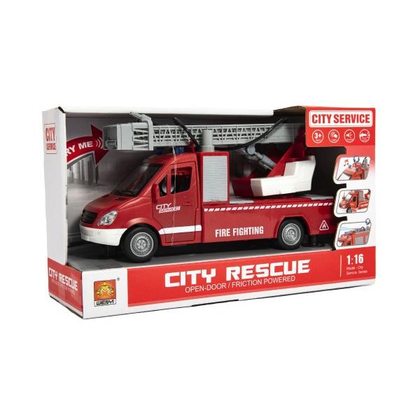 Auto hasiči plast 27cm na setrvačník na baterie se zvukem se světlem v krabici 32x19x12cm