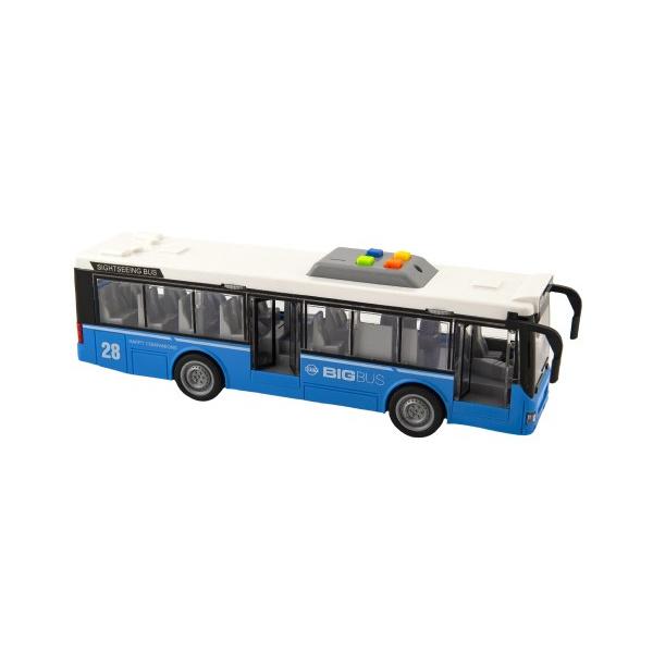 Autobus plast 28cm modrý na setrvačník na bat. se světlem se zvukem v krabici 32x17x11cm