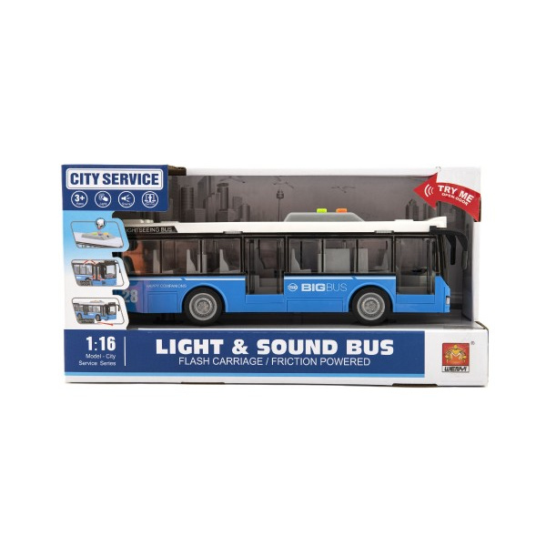Autobus plast 28cm modrý na zotrvačník na bat. so svetlom so zvukom v krabici 32x17x11cm