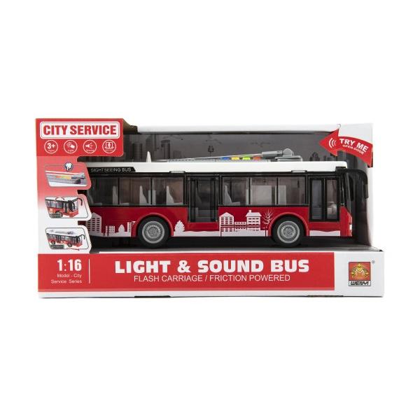 Autobus / trolejbus plast 28cm na zotrvačník na bat. so svetlom so zvukom v krabici 32x17x11cm