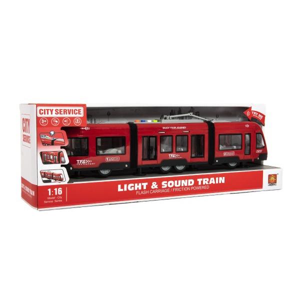 Električka / Vlak plast 44cm na zotrvačník na batérie so zvukom sa svetlom v krabici 48x17x11cm