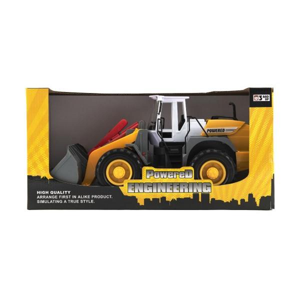 Stavební stroj nakladač/bagr plast 36cm na setrvačník v krabici 39x20x17cm