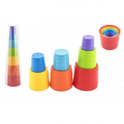 Kubus pyramída skladačka plast guľatá farebná 7ks v sáčku 12m +