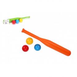 Baseballová pálka 50cm + míčky 3ks  plast 2 barvy v síťce