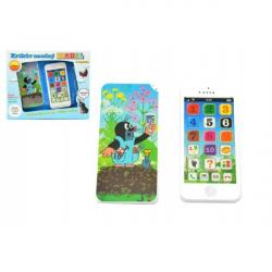 Krtkov náučný mobil telefón s krytom Krtko plast 13x6cm na batérie so zvukom v krabici 12m +