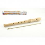 Flétna přírodní dřevo 31cm s čistítkem v krabičce