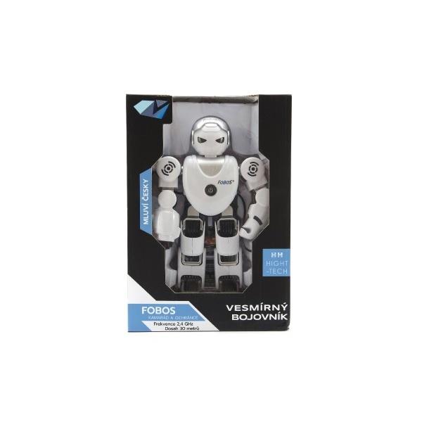 Robot RC FOBOS interaktivní chodící plast 40cm na baterie s USB v krabici 31x44x13cm CZ design