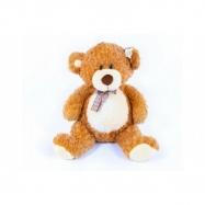 Medvěd s mašlí velký plyš 80 cm světle hnědý kudrnatý