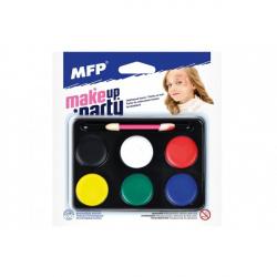 Barvy na obličej se štětečkem 6 barev na paletce na kartě 15,5 x 16 cm