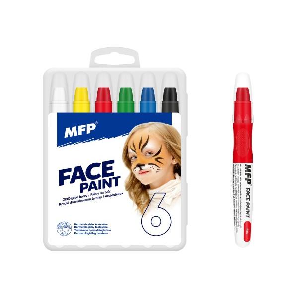 Farby na tvár a telo 6 ks v krabičke 11 x 14 cm karneval