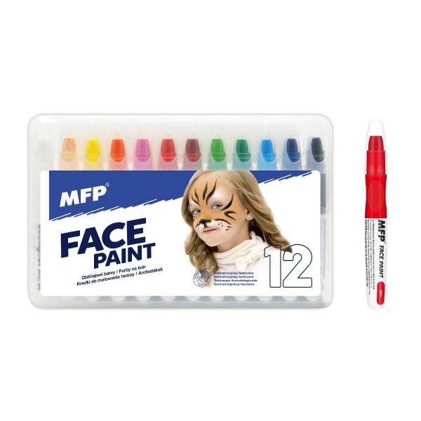 Farby do twarzy i ciała 12 sztuk w pudełku 22 x 14 cm karnawałowe