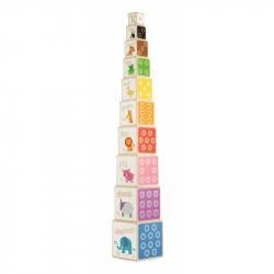 Drewniana wieża edukacyjna Zwierzątka - 104cm, Tidlo