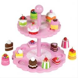 Tidlo Ružový poschodový tanier s tortičky