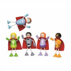 Tidlo Drevené postavičky Superhrdinovia 5ks