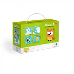 Puzzle Duo Gdzie mieszkają zwierzęta - 12x2 sztuk
