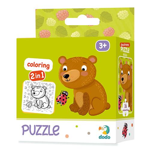 Puzzle z kolorowanką Miś 16 sztuk