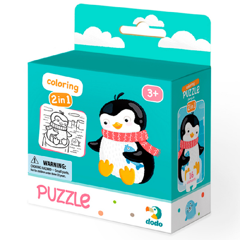 Puzzle z kolorowanką Pingwin 16 sztuk