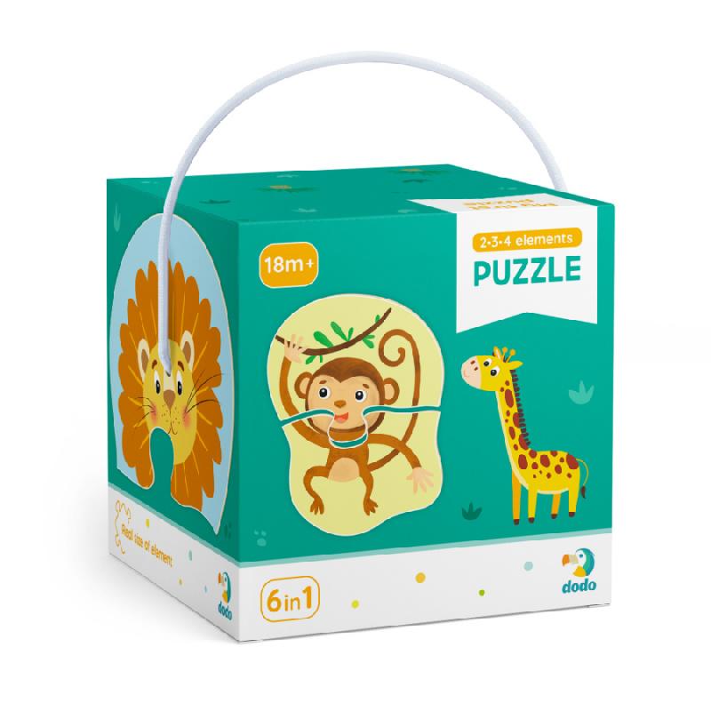 Puzzle 2-3-4 sztuk dzikich zwierząt