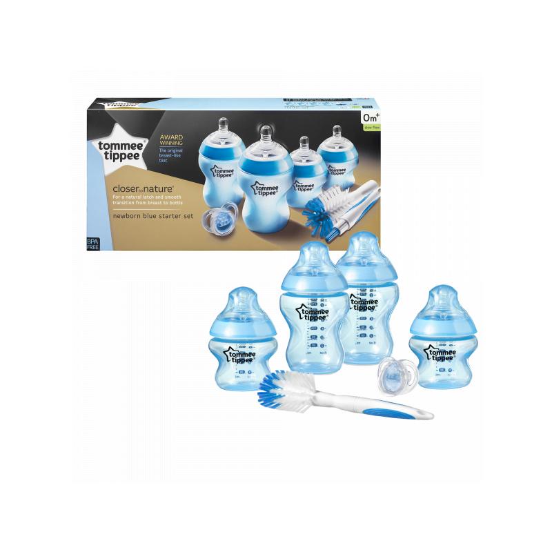 Sada dojčenských fľaštičiek C2N s kefou modrá