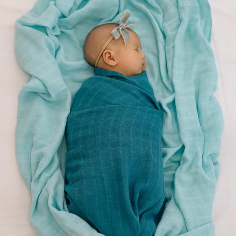Tommy Lise Pielucha muślinowa bawełniana Foggy Blue 120 x 120 cm