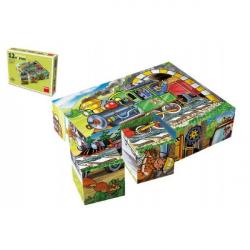 Kocky kubus Mašinka drevo 12ks v krabičke 16x12x4cm
