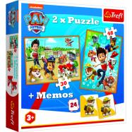 Puzzle 2v1 + pexeso Tlapková patrola zachraňuje