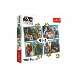 Puzzle 4v1 Mandalorianov a jeho svet / Star Wars v krabici 28x28x6cm