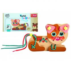 Koťátko drevená hračka navliekacie so šnúrkami v krabičke 19x10x5cm