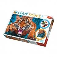 Puzzle Tváří v Tvář Tygrovi 600 dílků Crazy Shapes 68x48cm v krabici 40x27x6cm